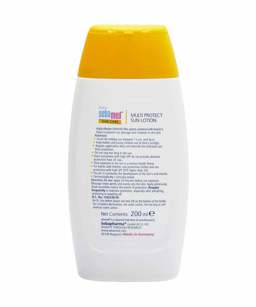 Back View: Directions for use of Sebamed Baby Sun Lotion SPF50 200ml